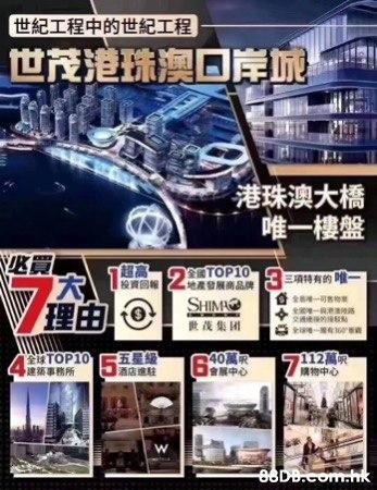 世貿港珠澳口岸城#珠海人工島唯一一個項目#月收租7千至1萬#30分鐘翻到香港#